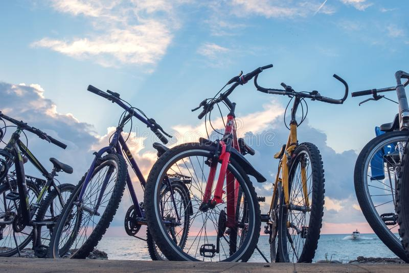 Cykelparkering royaltyfria bilder