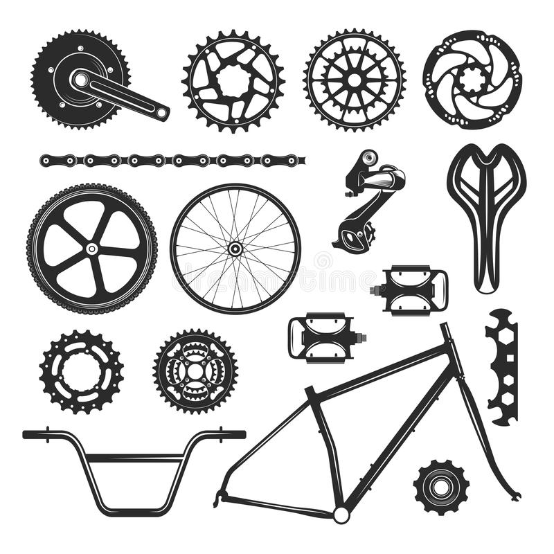 Cykelreparationsdelar ställde in, medelbeståndsdelsymbolen vektor illustrationer