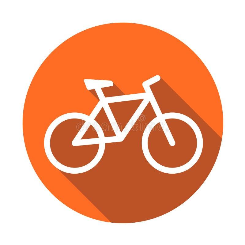 Cykelsymbol på apelsinrundabakgrund Cykelvektorillustratio royaltyfri illustrationer