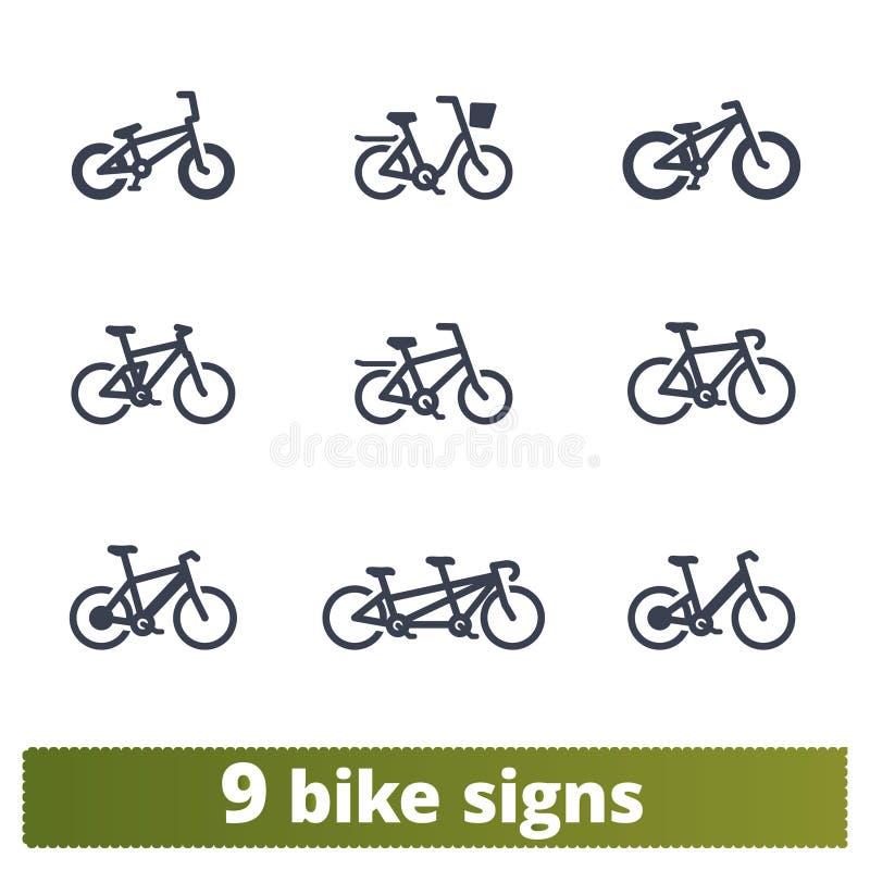 Cykelsymboler Vektoruppsättning av fast cykeltecken vektor illustrationer