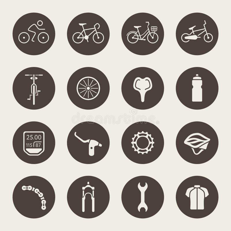 Cykelsymbolsuppsättning royaltyfri illustrationer