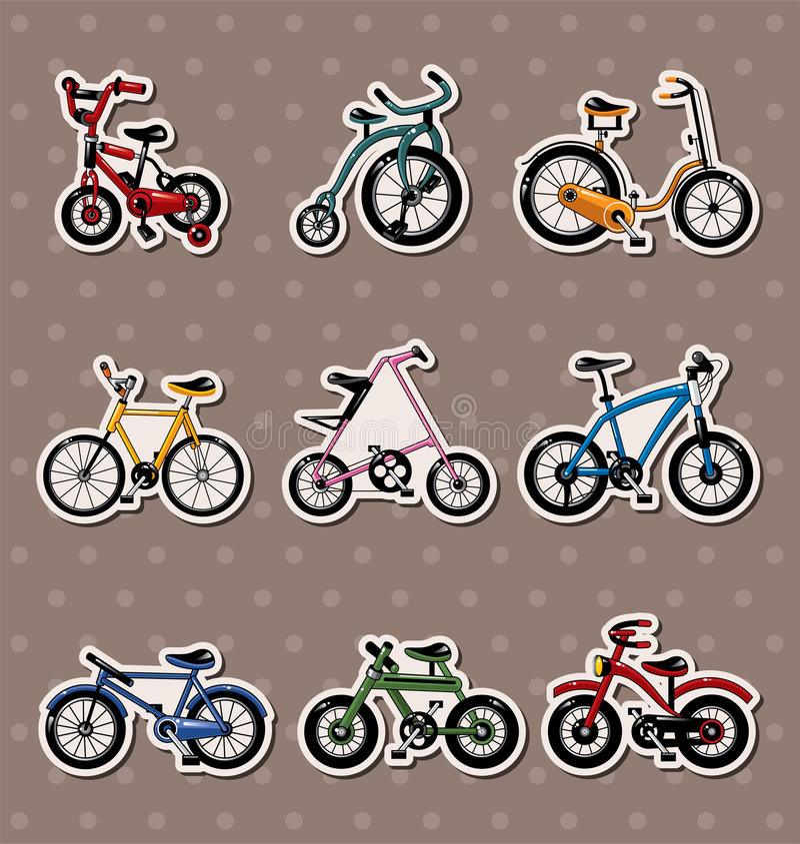 cykeltecknad filmetiketter royaltyfri illustrationer