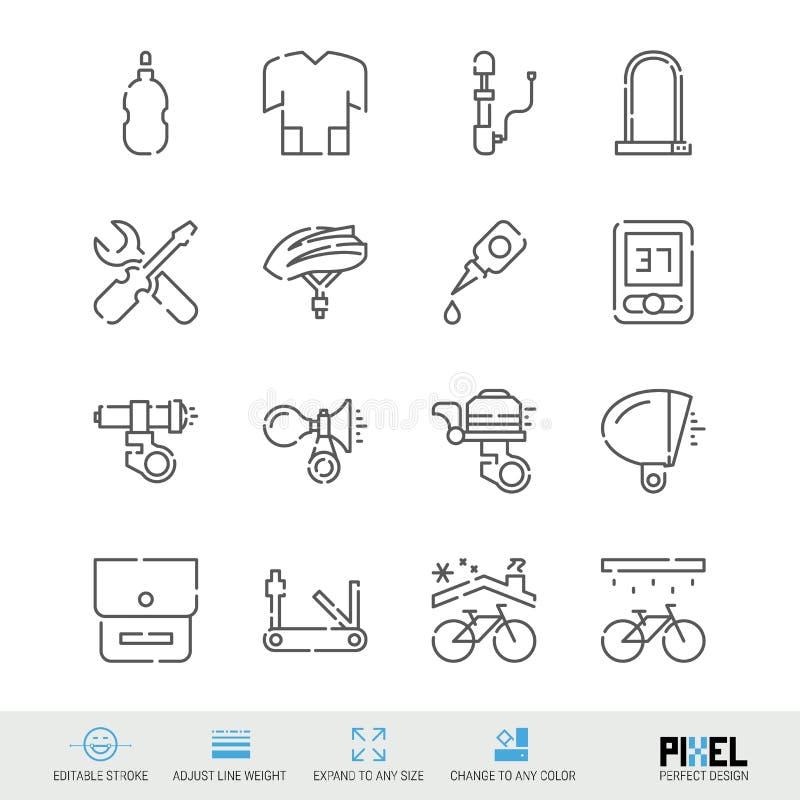 Cykeltillbehör, hjälpmedel och klädvektorlinje symbolsuppsättning Cykeln shoppar, linjära symboler för underhåll, Pictograms, tec royaltyfri illustrationer