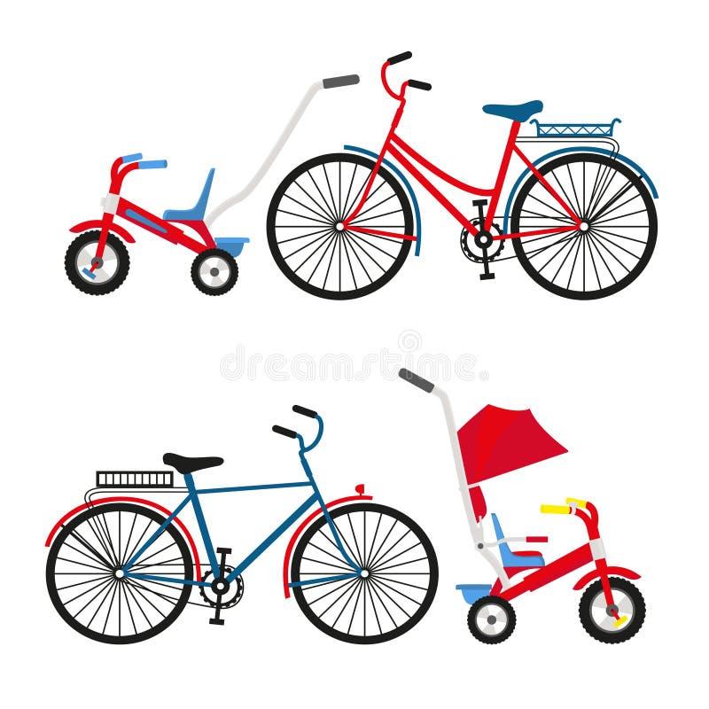 Cykelupps?ttning f?r familjritt St?ll in ridningcyklar isolerade p? vit bakgrund Plan illustration f?r vektor vektor illustrationer