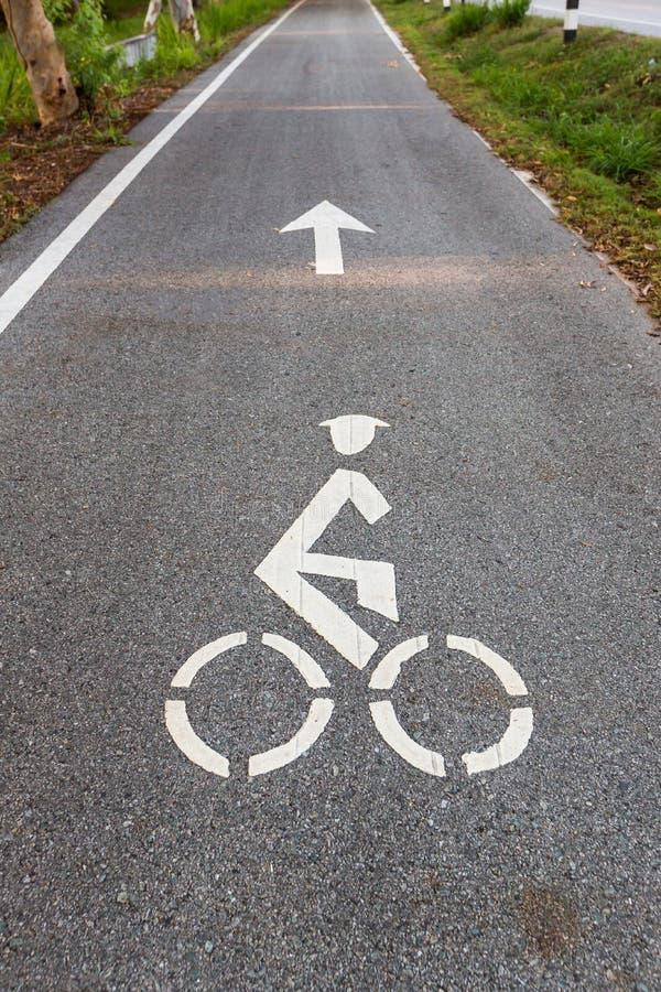 Cykelvägmärket och symbolet för pilcykelgränd, cykelgränden i den trädgårds- sighten och rittcykeln i parkerar arkivfoton