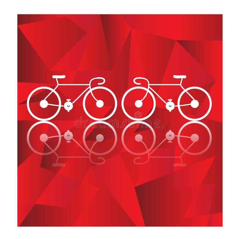 Cykelvektor på geometrisk bakgrund vektor illustrationer