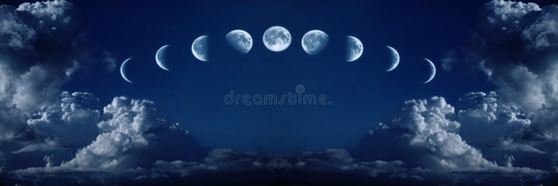 cykl folował wzrostową księżyc dziewięć faz zdjęcia stock