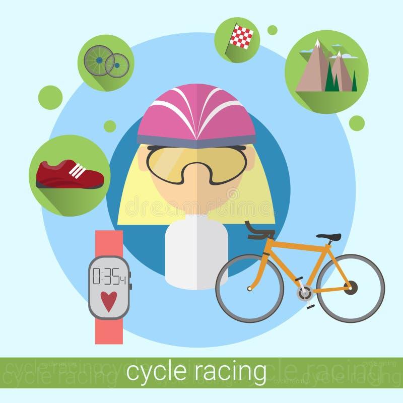 Cykl kobiety sportowa Bieżna ikona royalty ilustracja