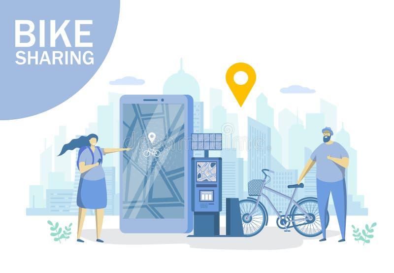 Cykla att dela, för stildesign för vektor plan illustration stock illustrationer