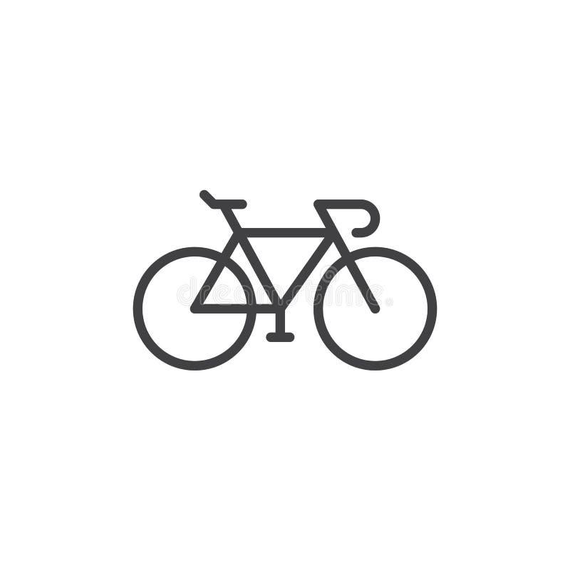 Cykla, cykla linjen symbolen, översiktsvektortecknet, den linjära stilpictogramen som isoleras på vit stock illustrationer