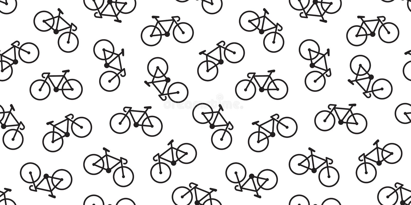 Cykla den sömlösa modellvektorn som cyklar isolerad bakgrundstapettappning stock illustrationer