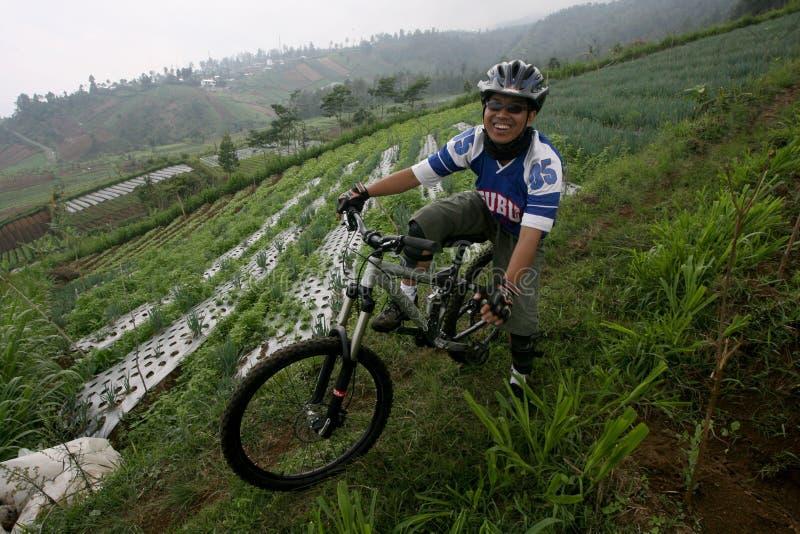 cykla det grunda cykla perspektiv för berg för händer för skogen för fokusen för cyklistdjupfältet arkivfoto