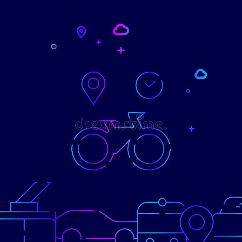 Cykla eller cykla den uthyrnings- vektorlinjen symbolen, illustration p? ett m?rkt - bl? bakgrund Sl?kt nedersta gr?ns stock illustrationer
