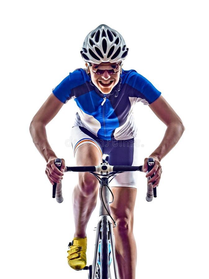 Cykla för cyklist för idrottsman nen för kvinnatriathlonironman royaltyfri foto
