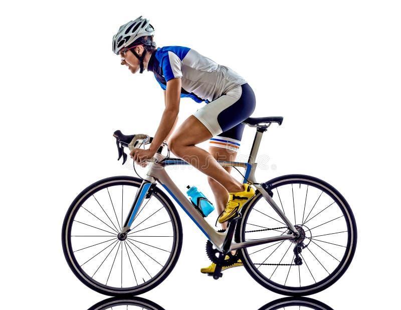 Cykla för cyklist för idrottsman nen för kvinnatriathlonironman arkivbild