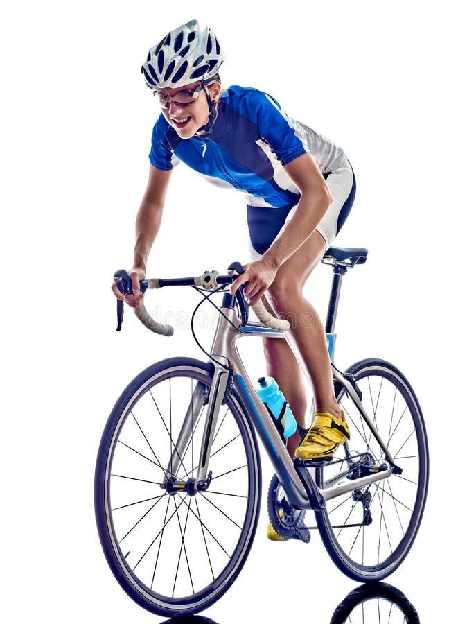Cykla för cyklist för idrottsman nen för kvinnatriathlonironman fotografering för bildbyråer
