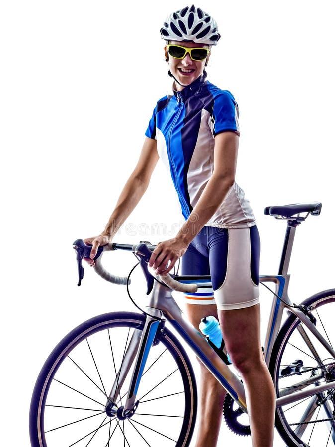 Cykla för cyklist för kvinnatriathlonidrottsman nen royaltyfri foto
