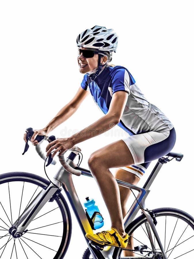 Cykla för cyklist för kvinnatriathlonidrottsman nen royaltyfria bilder