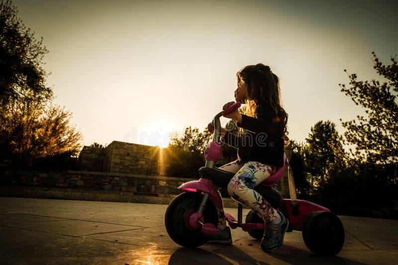 cykla flicka royaltyfria bilder