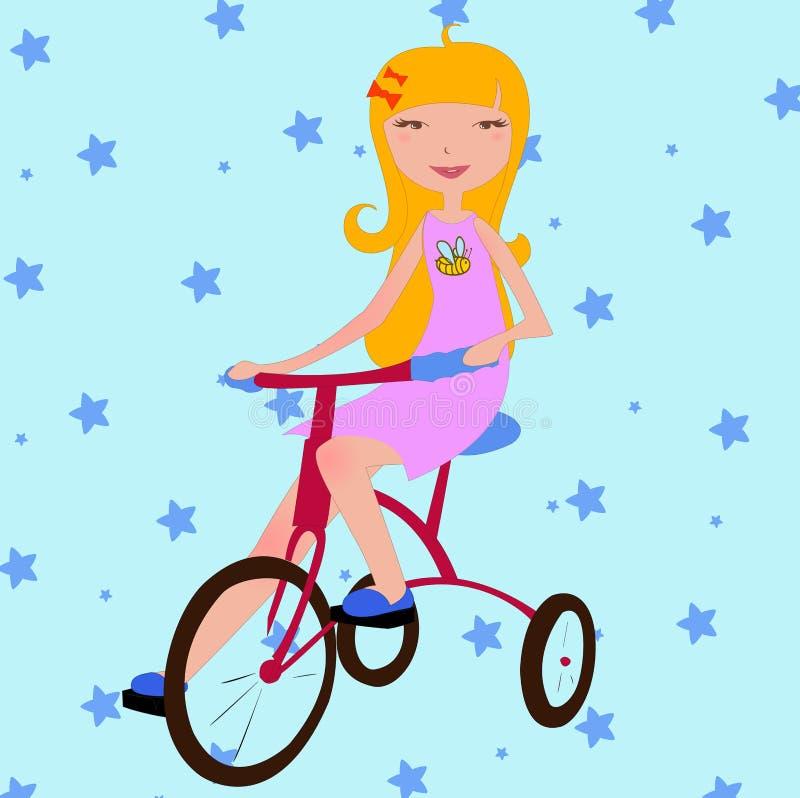 cykla flickan little ridning vektor illustrationer
