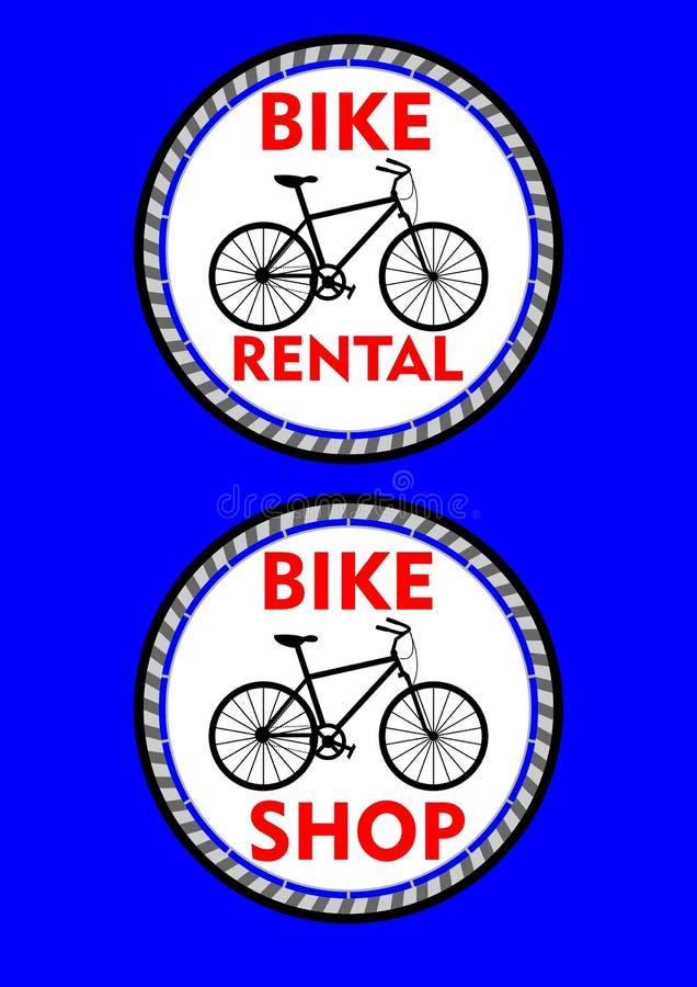 Cykla hyra, cykel shoppar, den två cirkel färgade etiketten eller skylten Svart cykelkontur och rubrik i röd design royaltyfri illustrationer