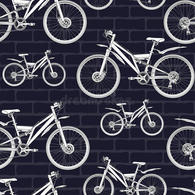 Cykla konturen som drar den sömlösa modellen, skissa och att färga, vektorbakgrund Dragen översiktsvit cyklar halva-framsidan med royaltyfri illustrationer