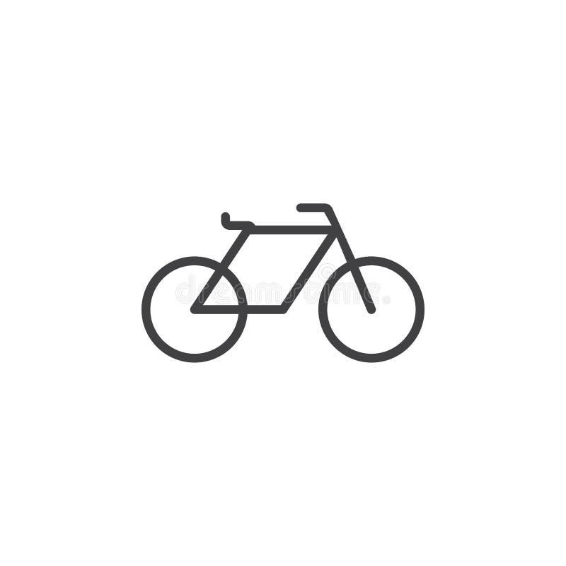 Cykla linjen symbolen, illustrationen för cykelöversiktslogoen som är linjär vektor illustrationer