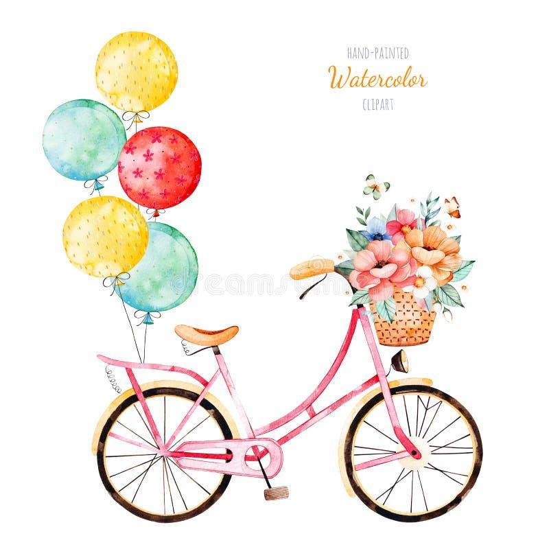 Cykla med buketten i korg och mångfärgade ballonger stock illustrationer