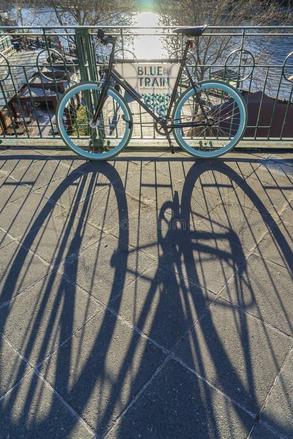 Cykla med en skugga i en vandringsled nära solnedgång arkivbilder