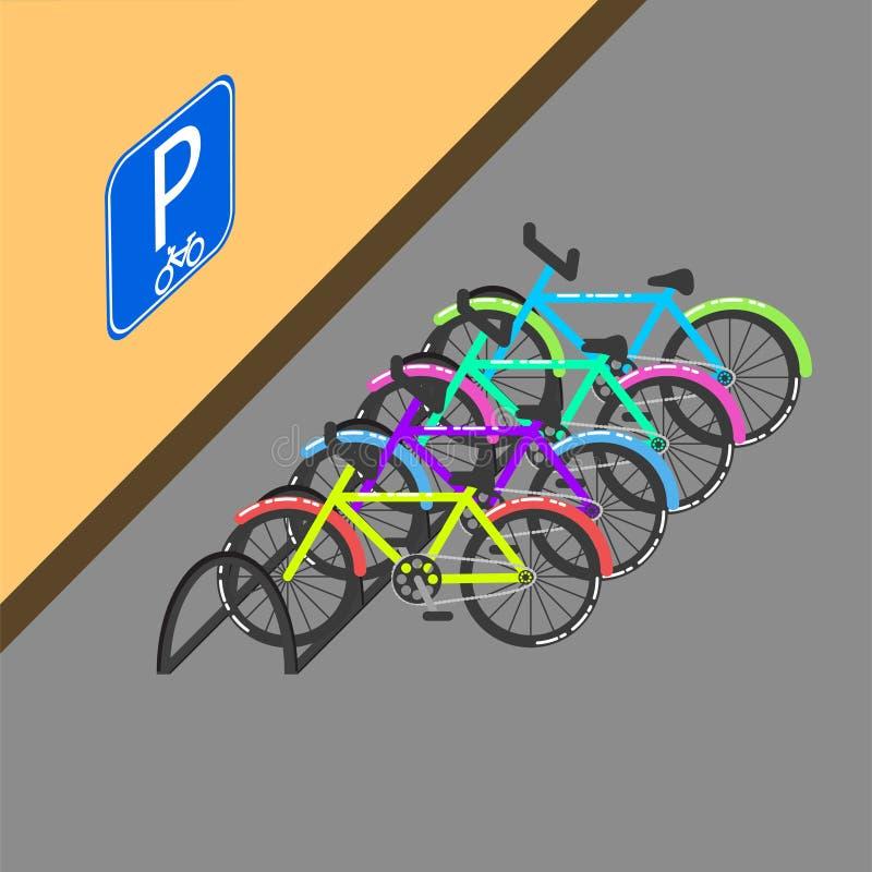 Cykla parkering med tecknet på väggvektorillustrationen vektor illustrationer
