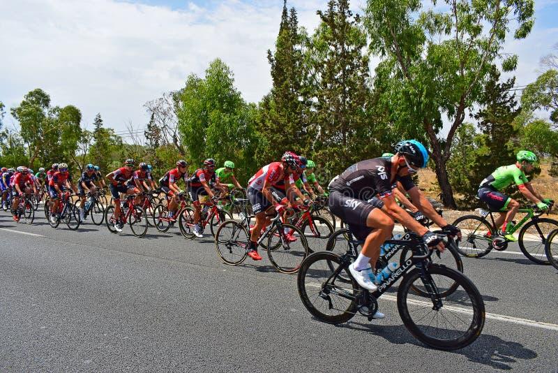 Cykla Peleton La Vuelta España royaltyfri fotografi