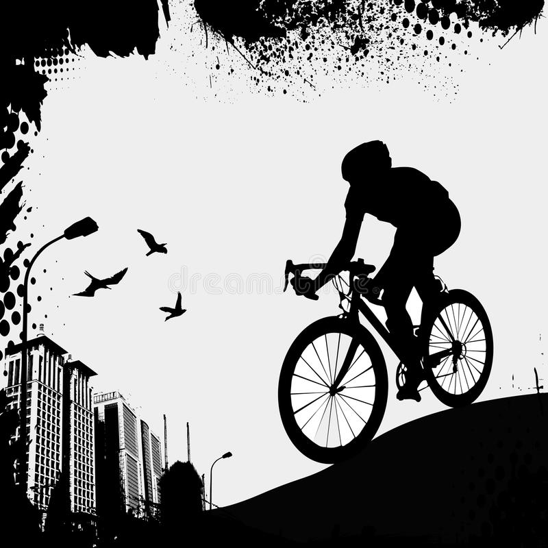 cykla staden stock illustrationer