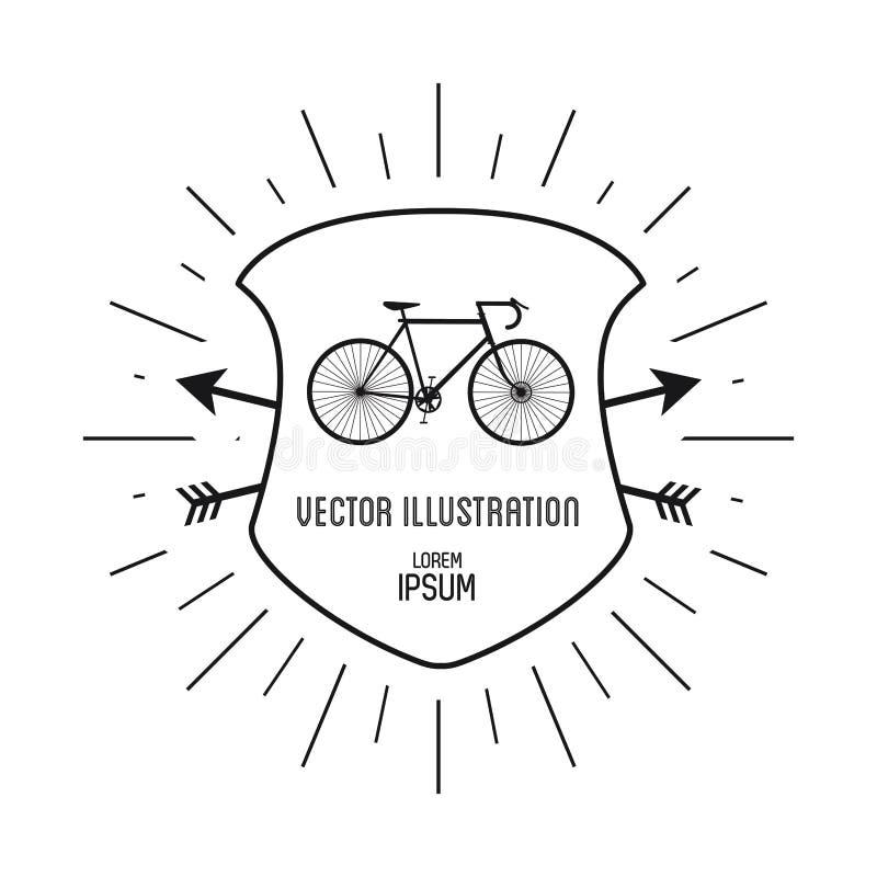 Cykla symbolen Hipsterstildesign som stylized swirlvektorn för bakgrund det dekorativa diagrammet vågr royaltyfri illustrationer