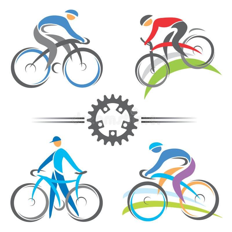 Cykla symboler stock illustrationer
