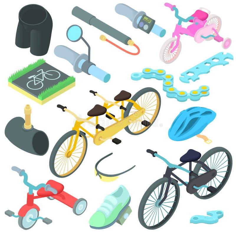 Cykla symboler uppsättning, tecknad filmstil stock illustrationer