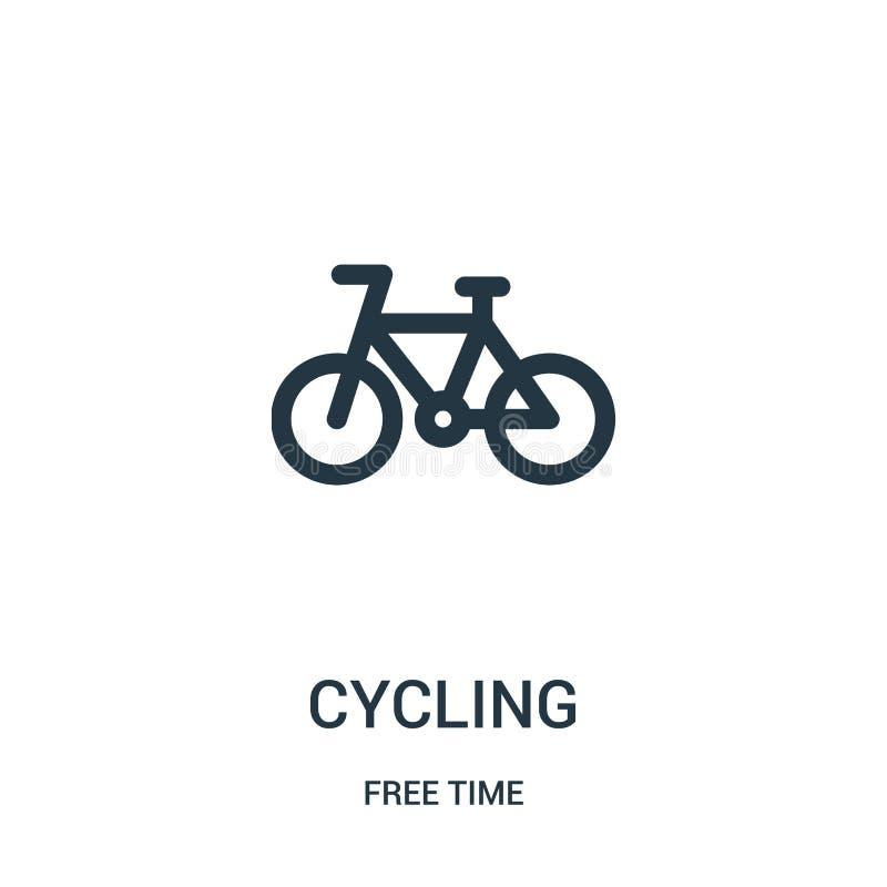 cykla symbolsvektorn från samling för fri tid Tunn linje som cyklar illustrationen för översiktssymbolsvektor Linjärt symbol för  stock illustrationer