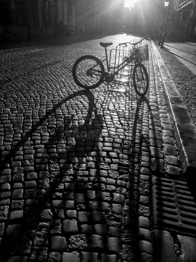 Cykla tappa lång vertikal skugga till den gamla stentrottoaren arkivbilder