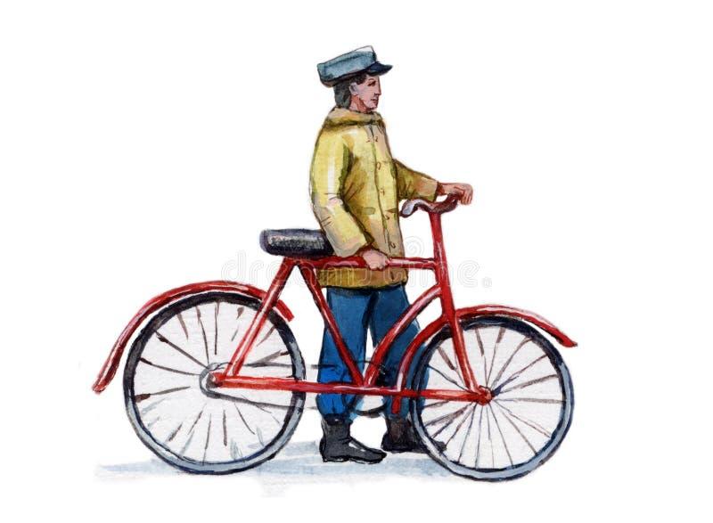 cykla tappning royaltyfri illustrationer