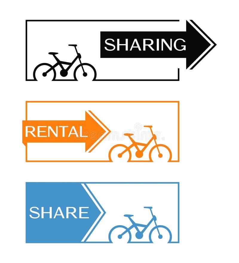 Cykla uthyrnings- och att dela banret med cirkuleringssymbolen royaltyfri illustrationer