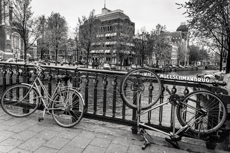 Cyklar av Amsterdam royaltyfri fotografi