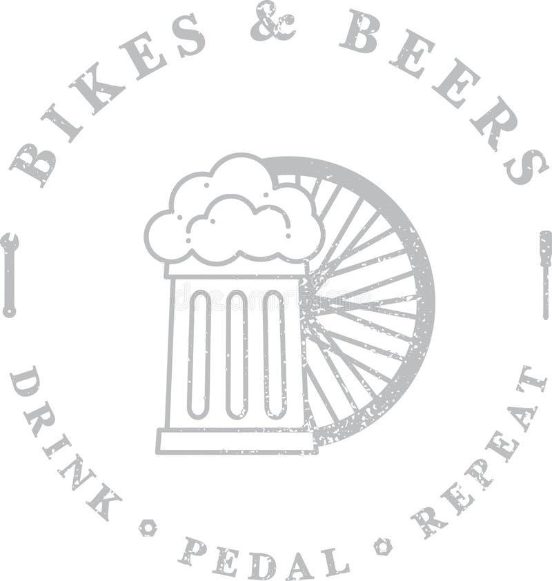 Cyklar och öl vektor illustrationer