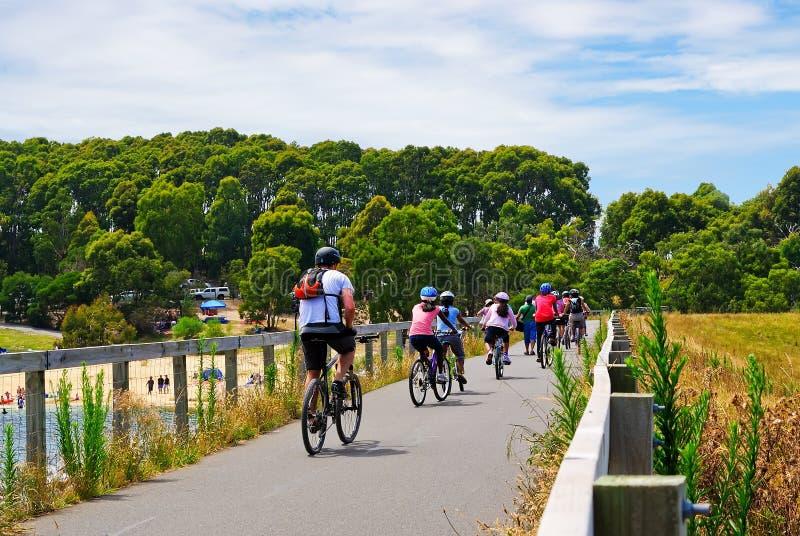 cykliści grupują mieszanego obraz stock