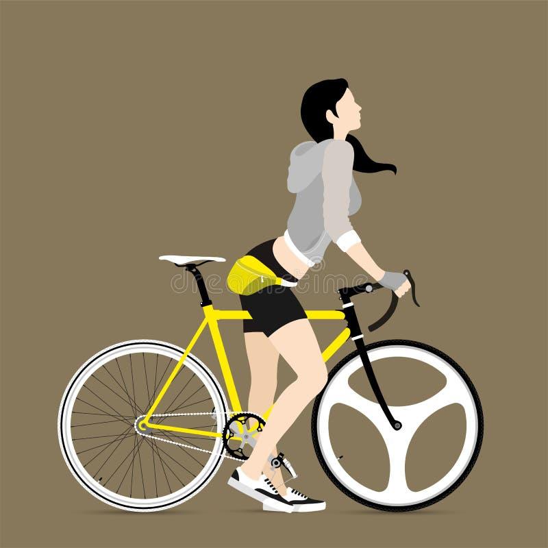 Cykliści i załatwiający przekładnia bicykl ilustracja wektor