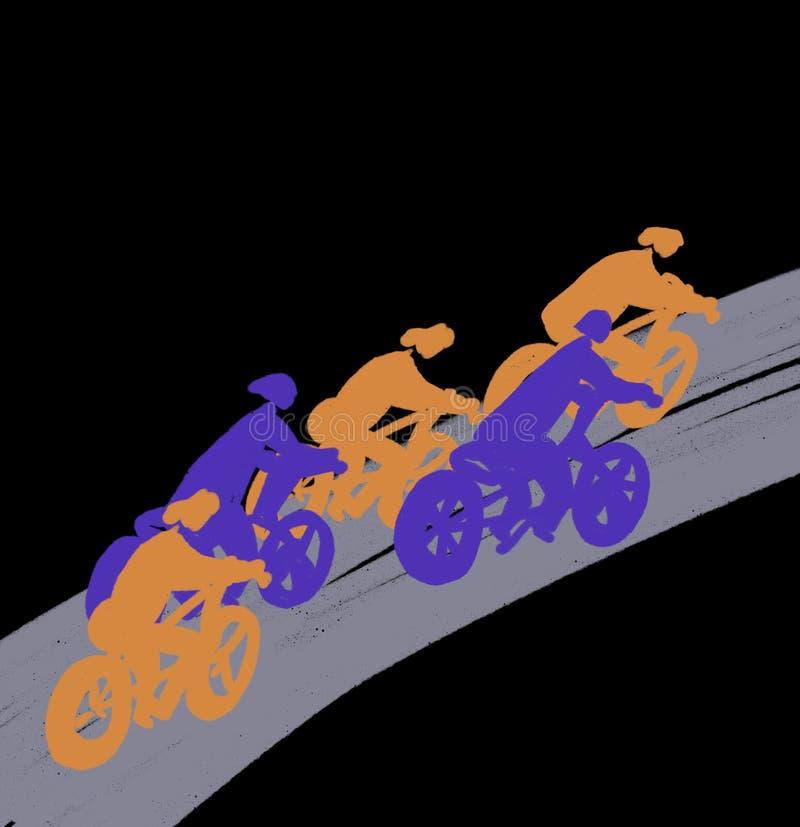 Cykliści jadą na drodze, sylwetka, rywalizacja royalty ilustracja