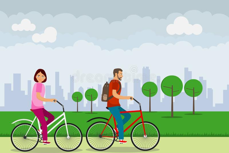 Cykliści jadą przez parka, mężczyzny i kobiety podróży, rowerem Pojęcie aktywny odtwarzanie na bicyklu ilustracja wektor