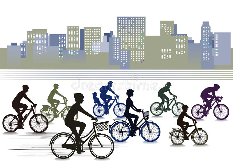 Cykliści jechać na rowerze w mieście royalty ilustracja