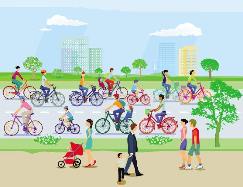 Cykliści na drodze ilustracja wektor