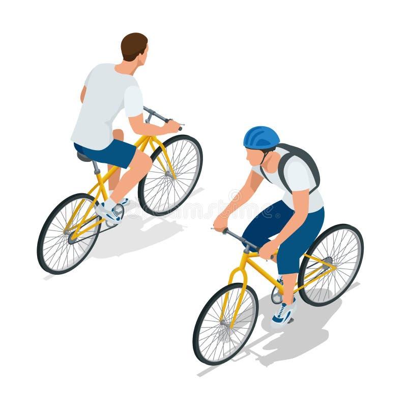 Cykliści na rowerach Ludzie jedzie rowery Rowerzyści i bicycling Sport i ćwiczenie Płaska 3d Wektorowa isometric ilustracja ilustracji