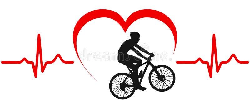 Cykliści na rowerze, kierowy puls - ilustracji