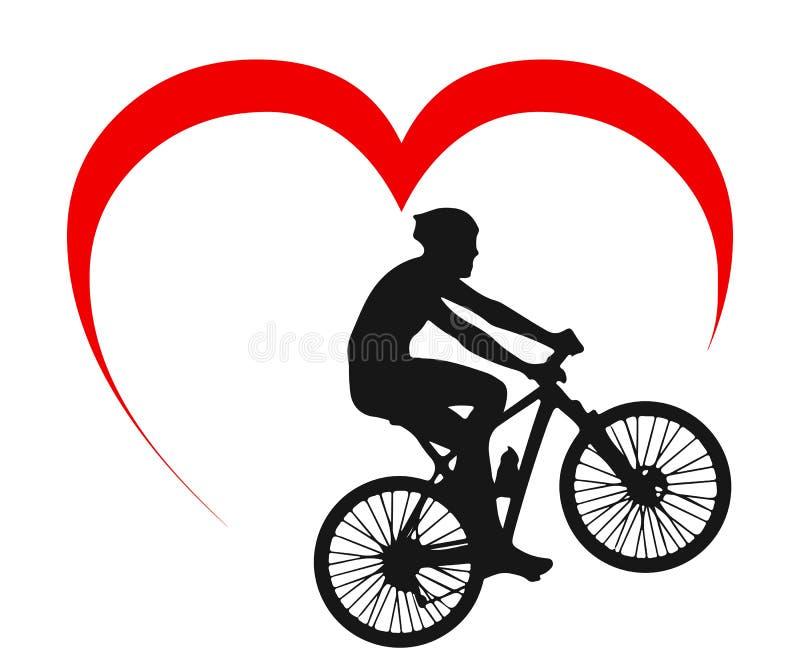 Cykliści na rowerze pod sercem - wektor ilustracja wektor